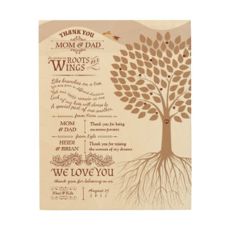 Unique Parents Thank You Gift from Bride and Groom Wood Prints