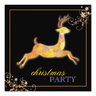 Unique Patchwork Reindeer Black Christmas Party Card