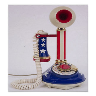 Unique, patriotic phone, to call home on poster