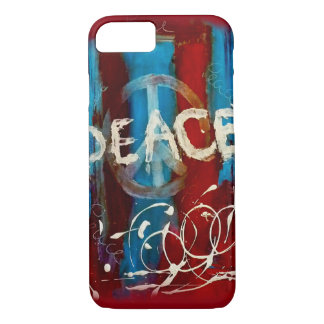 Unique peace sign on a abstract background iPhone 7 case