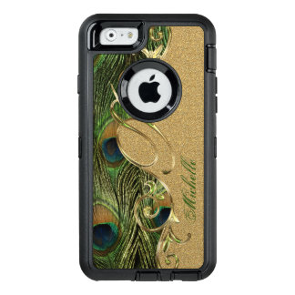 Unique Peacock Feathers Gold Custom Monogram OtterBox iPhone 6/6s Case