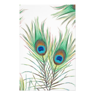 Unique Peacock Feathers Pattern Customized Stationery