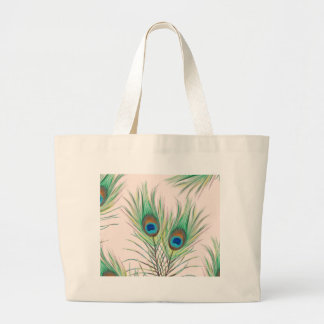 Unique Peacock Feathers Pattern Large Tote Bag
