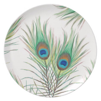 Unique Peacock Feathers Pattern Party Plate