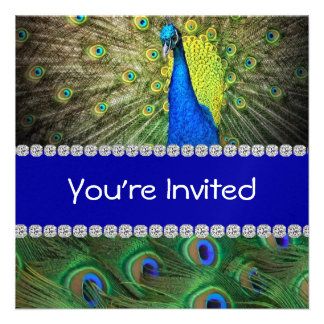 Unique PEACOCK INVITATION WITH FEATHERS BLING