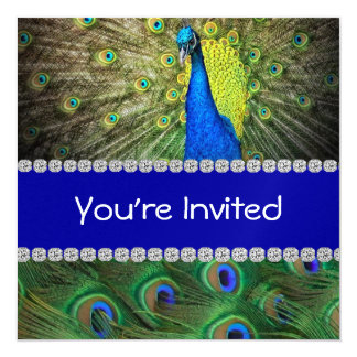 Unique PEACOCK  INVITATION WITH FEATHERS & BLING