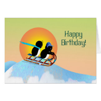 Unique Penguins Sledding Happy Birthday Card