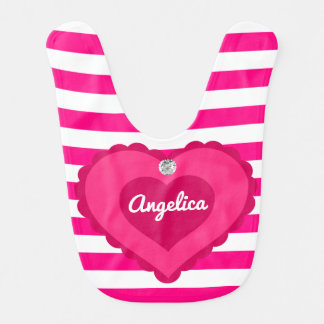 Unique Personalized Baby Girl Hot Pink Heart Gift Baby Bib