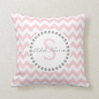 Unique Personalized Baby Pink Chevron | Diamonds Cushion