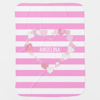 Unique Personalized Cute Baby Girl Pink Heart Baby Blanket