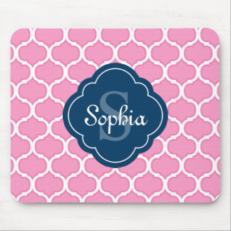 Unique Pink Lattice Pattern Navy Blue Monogram Mouse Pad