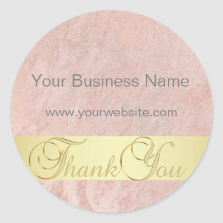 Unique Pink Marble Gold Business Thank You Classic Round Sticker