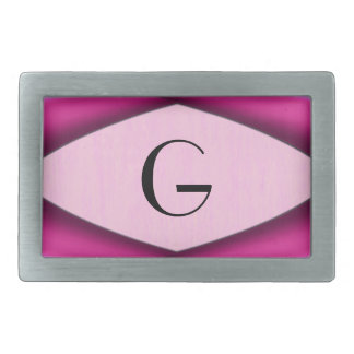 Unique Pink Pattern Initial Rectangular Belt Buckles