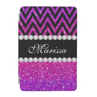 Unique Pink Purple Glitter Black Chevron Stripe iPad Mini Cover