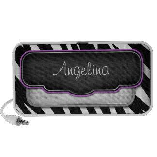 "Unique ""Puffy"" Zebra Print Purple Doodle Speaker"