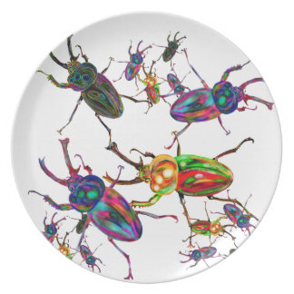 Unique Rainbow stag beetles art gifts accessory Plate