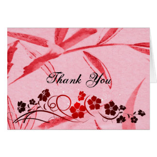 Unique Red Bamboo Black Flowers Thank You Card