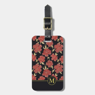 Unique Red Floral Blossoms Monogram | Luggage Tag