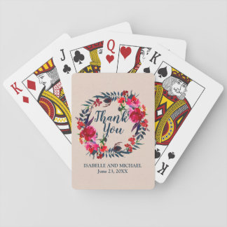 Unique Red Floral Personalized Wedding Favor Playing Cards