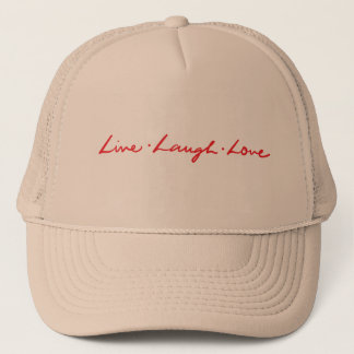 Unique Red Live Laugh Love Hand Lettered Trucker Hat