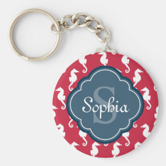 Unique Red Seahorse Pattern Blue Monogram Key Ring