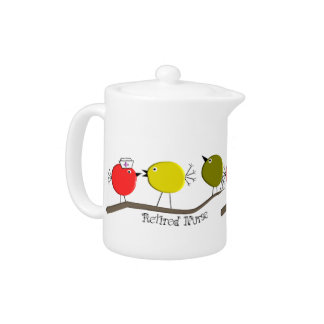 Unique Retired Nurse Teapot Retro Birds Design