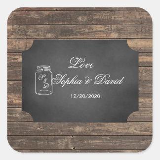 Unique Rustic Mason Jar Chalkboard Wedding Square Sticker