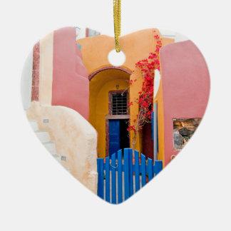 Unique Santorini architecture Ceramic Heart Decoration