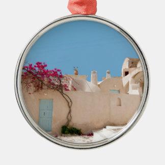 Unique Santorini architecture Silver-Colored Round Decoration