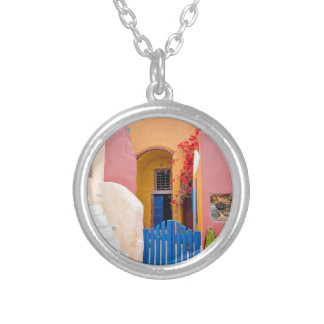 Unique Santorini architecture Silver Plated Necklace