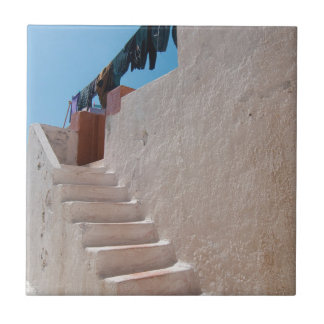 Unique Santorini architecture Small Square Tile