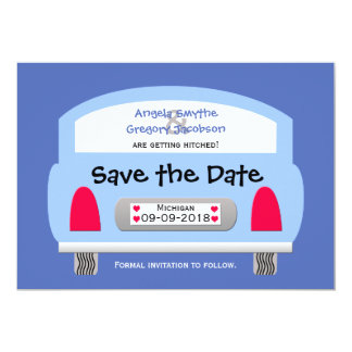 Unique Save the Date Invitation -- Blue Car