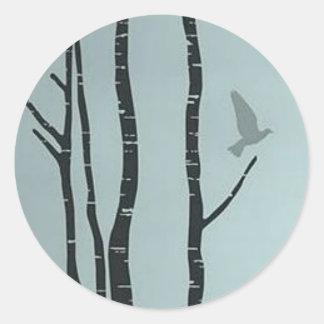 Unique silver birch, bird artwork round sticker