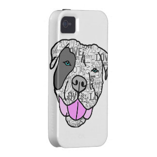 Unique Stylish Pit Bull Love Graphic Case-Mate iPhone 4 Covers