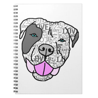 Unique Stylish Pit Bull Love Graphic Spiral Notebooks