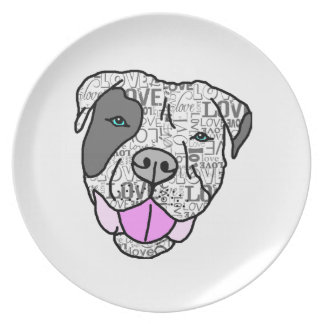 Unique Stylish Pit Bull Love Graphic Party Plate