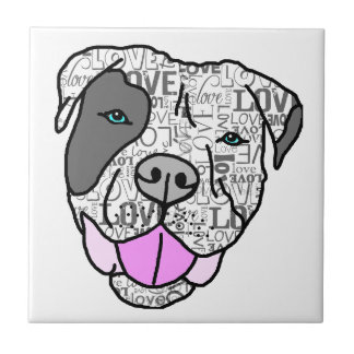 Unique & Stylish Pit Bull Love Graphic Small Square Tile