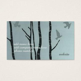 Unique, stylish silver birch bird business card