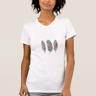 Unique Three Bohemian Tribal Blue Pink Red Feather T-Shirt