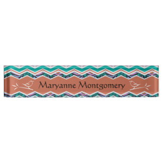 Unique Turquoise and Brown Birds Zigzag Pattern Nameplate