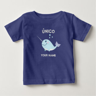 """Unique/único"" Baby T-Shirt with Narwhal"