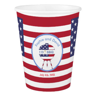 Unique USA flag 4th of July Party I DO BBQ Paper Cup