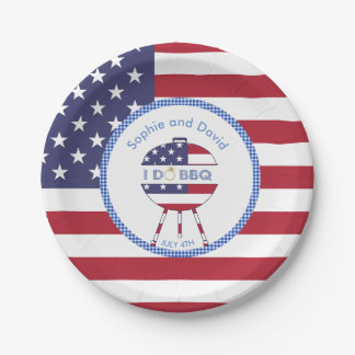 Unique USA flag 4th of July Party I DO BBQ Paper Plate