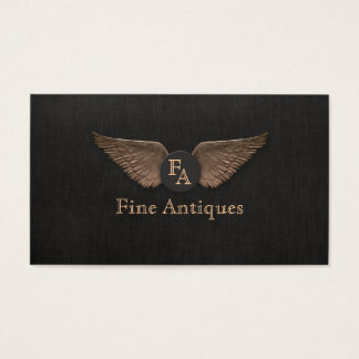Unique Vintage Bronze Wings Monogram Black Business Card