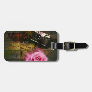 Unique vintage camera, clock and flower luggage tag