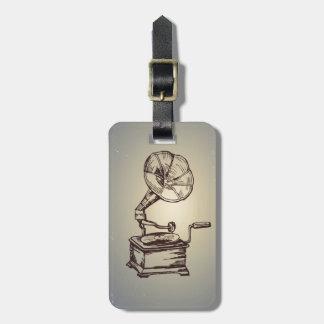 Unique Vintage Phonograph. Retro Style Gramophone Luggage Tag