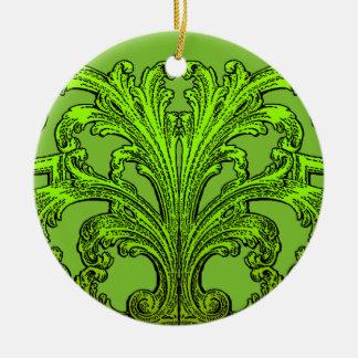Unique Vintage Swirl Ombre Green Design Ceramic Ornament