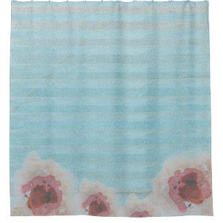 Unique Watercolor Floral & Striped Bohemian Print Shower Curtain