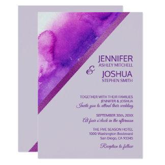 Unique Watercolor Purple Lilac Lavender Wedding Card