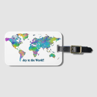 Unique Watercolor Splashes World Map Luggage Tag